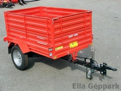 BP-1400 pótkocsi, hátra billenős, átmenő mechanikus fék + magasított
